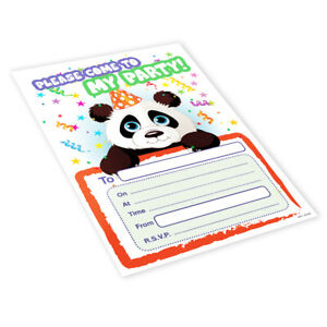 20x Childrens Kids Birthday Party Invitations Invites Pack Blank - Panda