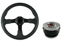 F2 BLACK Sports Steering Wheel + Quick Release boss B29 for MITSUBISHI