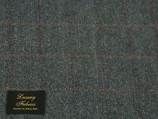 100% Lana Tweed Tela, Blue/grey mezcla sombra con overcheck-Hecho En Inglaterra