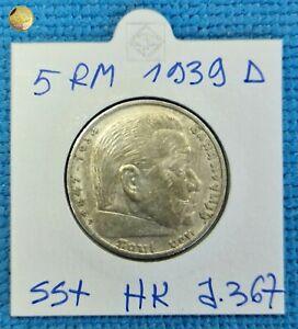 Germany Third Reich 5 Reichsmark 1939 D HINDENBURG Swastika Silver Coin J.367