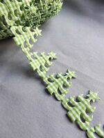 gingham GREEN CHRISTMAS TREE star trim wraping ribbon sewing white lace xmas