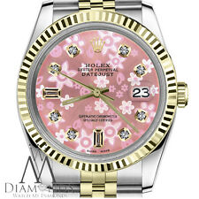 Peach Flower Rolex Ladies Watch 26mm Datejust 2 Tone 8+2 Diamond Accent Dial