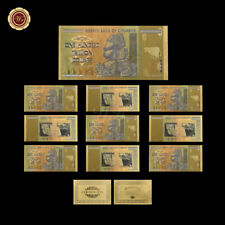 WR 10X Zimbabwe 100 Dollar Trillion Bundle Colored GOLD Banknotes Set 24K /w COA