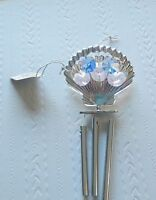 Wind Chime -Clam shell Austrian Crystals-silver -blue & pink crystals