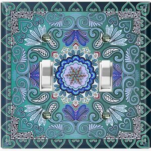 Metal Light Switch Cover Wall Plate Teal Elegant Flower Tile Pattern TIL062
