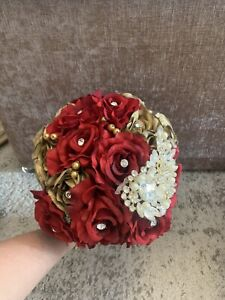 Red And Gold Bridal Bouquet With Studs
