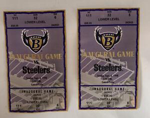 Vintage Baltimore Ravens ticket 1998 Inaugural Game Ticket NFL Game Ticket Used