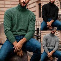 Pullover Jumper Winter Sweater Tops Turtleneck US High Neck Men's Warm