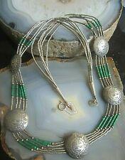 liquid silver kette amulett  sunfaces und malachit native indian artwork 51 cm