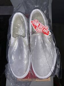 Vans Classic Slip On Casual Comfort Shoes, Women's 7.5 Silver Sparkle Glitter