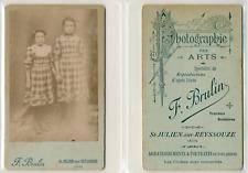 Brulin, St Julien sur Reyssouze, deux soeurs CDV vintage albumen Tir