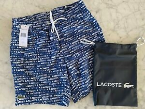 NEW MENS LACOSTE SWIM SHORTS SIZE SMALL AND CARRY BAG