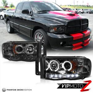 02-05 Dodge RAM 1500 New LH+RH Pair Smoke Projector LED Headlight Signal Lamps