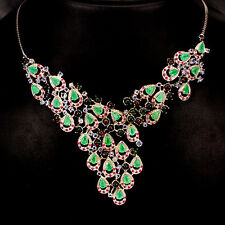 200 CTS! ASTOUNDING! NATURAL BLACK OPAL, EMERALD, TANZANITE & RUBY 925 NECKLACE