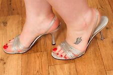Cristal Argent Bracelet Roland Cartier Sandales Talons Soirée Chaussures Taille 8