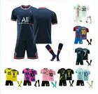 All Kids Football Kits Blue Strips Shirt Soccer Jersey 21/22 Home Training Suits