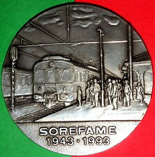 RAILWAY STATION / ELECTRIC TRAIN PLATED BRONZE MEDAL