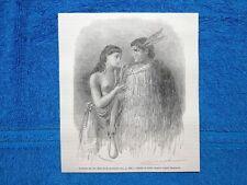 Gravure Année 1865 - Chef Heke et sa femme - Il capo Heke e sua moglie