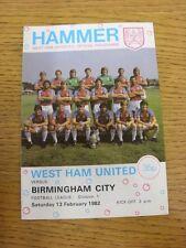 13/02/1982 West Ham United v Birmingham City  (Creased). Thanks for taking the t