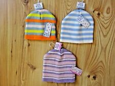 KIDS BABY ACRYLIC KNITTED PATTERN Striped Beanie Hat Winter 3-6-12-24 Months