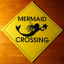 Mermaid Crossing Yellow Caution Tin Sign Nautical Beach Boating Home Decor New