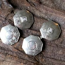 Pair of Men's Vintage 14K White Gold Diamond Cuff Links