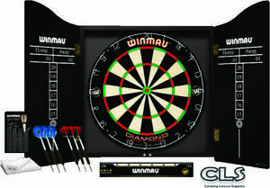 Winmau Professional Dart Board Set Diamond DartBoard 2 sets of Darts And Cabinet