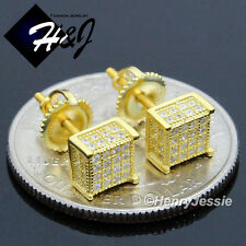 MEN 925 STERLING SILVER 6MM ICY DIAMOND 3D SCREW BACK GOLD STUD EARRING*G96