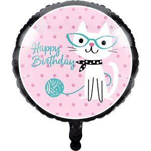 """Purr-fect"" Party Cat Foil Balloon 45cm - Pretty Kitten Kitty Cat Party Supplies"