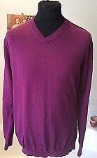 "Jeff Banks ~ Extra fine Merino 100% wool purple V neck jumper -41-42"" R"