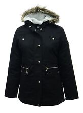 Ladies Plus Size New Long Jacket Parka Fleece Lined Hood Black Parker Coat *LICK