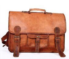 Mens Genuine Vintage Brown Leather Messenger Shoulder Laptop Bag Briefcase