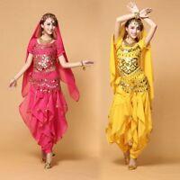 AU Bollywood Belly Dance Costume set Top Pants Belt Veil Womens Clothes Set