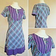 Warehouse Tartan Dress 12 14 Medium Purple Green Tunic Nomads Seasalt Check