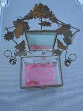 Coffret bijoux verre laiton miroir décor floral d'époque Napoléon III 19ème