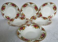 """Royal Albert Old Country Roses (6) Rimmed Soup/Pasta Bowls 8"""" - England"""