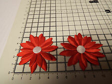 2x Satin Red with White Big Applique- Daisy Motif,Trimmings,Wedding, 5.5cm