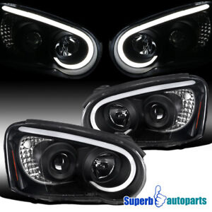 For 2004-2005 Subaru Impreza WRX Black LED DRL Strip Projector Headlights