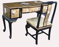 Oriental Desk furniture gold leaves lacquer with chair