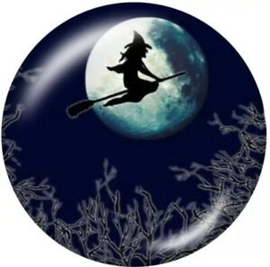 Halloween Glass Witch Flying Across Moon 20mm Snap Charm For Ginger Snaps