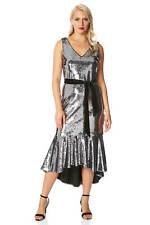 Sequin Flute Hem Belt Sleeveless Midi Sparkle Dress Ladies Women Roman Originals