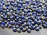 10g Czech SuperDuo Twin Beads Opaque Blue Picasso Silver