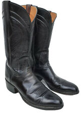 LUCCHESE Men's Black Genuine Leather Western Cowboy Boots 10.5 A