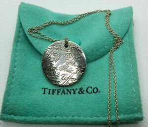 Tiffany & Co. 5th Avenue Notes Large Round Disk Pendant Necklace in 925 Sterling