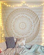 raajsee Indisch Psychedelic Wandteppich Mandala Glänzend Gold weiß Elefant Bo...