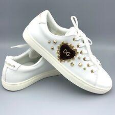 NIB Dolce & Gabbana Women's Heart Calf Leather White Gold Sneakers EU 38 US 7.5