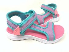 NEW! Skechers Youth Girl's CRUSH BRIGHTS Comfort Sandals Aqua/Pnk #86982L 80T z