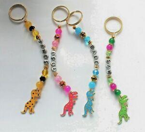 Personalised Spotty Dinosaur  keyring / bag charm (you chose a name), 4 designs
