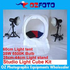 Photography Photo Studio 60cm Light Cube Kit Box Tent  35W 5500K Bulb Stand New