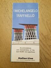 VTG 1960s Italian Cruise Line SS Michelangelo Raffaello Deck Plan Brochure TV